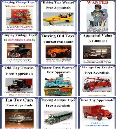 Buying vintage toys highest prices paid. Don't sell your antique toys until you know the facts Buddy L Museum paying absolute highest prices in American for vintage cast iron toys, pressed steel toys, buddy l trucks, german tin toys, vintage space toys. Buying old toys any condition.